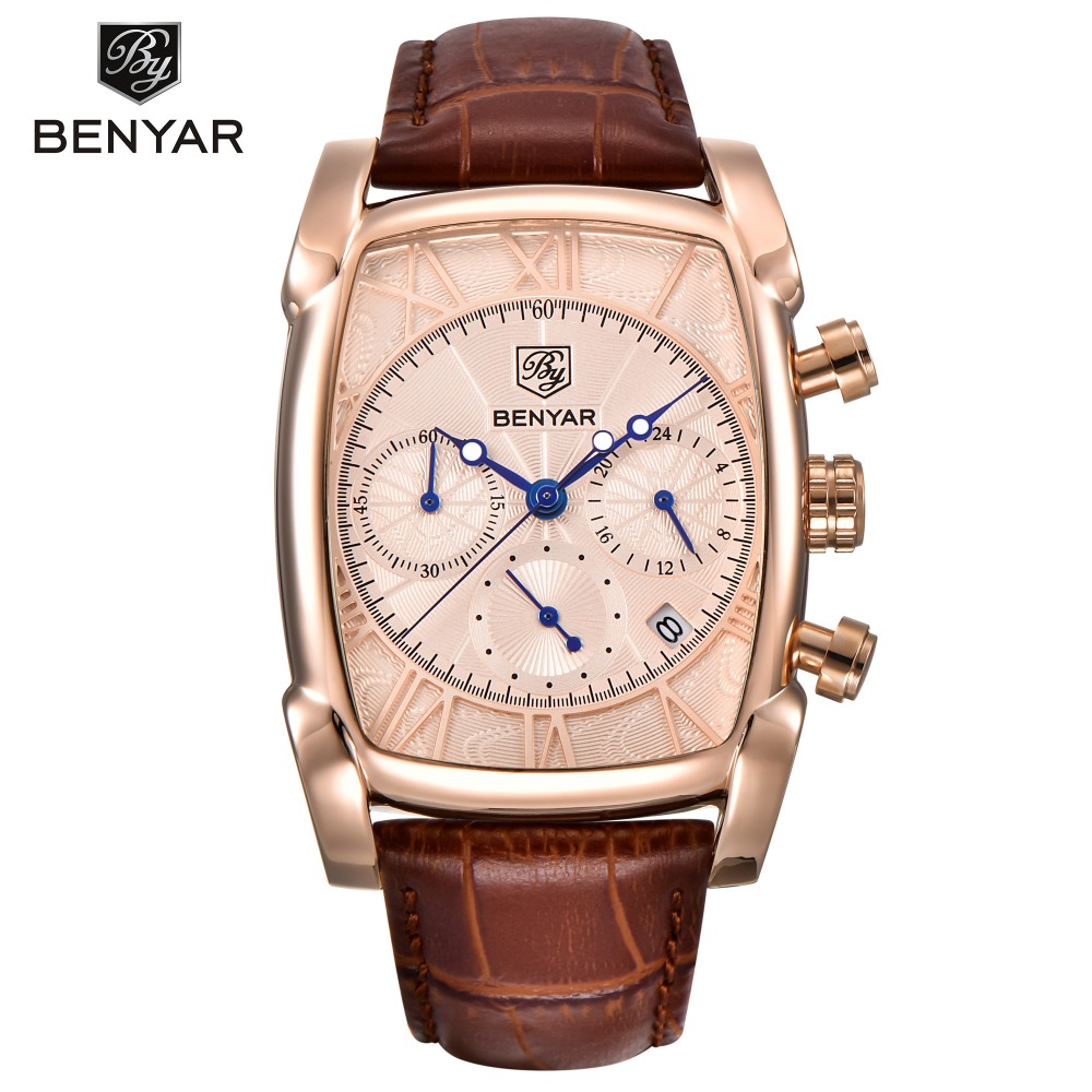 BENYAR Chronograph Fashion Leather Quartz Watch Mens Square Business Sport Watches Top Brand Luxury Male Clock Relogio Masculino fashion luxury waterproof analog men sport watch chronograph mens leather watches male clock quartz wristwatch relogio masculino
