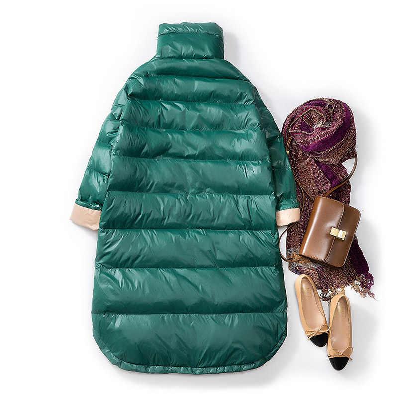 Fitaylor новая зимняя Ультра Легкая белая куртка на утином пуху Женская тонкая Длинная Парка женская теплая парка зимняя верхняя одежда