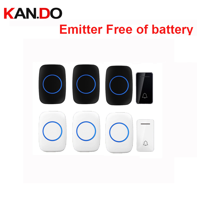 Wholesales 3 Receivers Wireless Door Bell Emitter Free Of Battery Wireless Doorbell Ip44 200M Work Door Chime Door Ring 110-240V