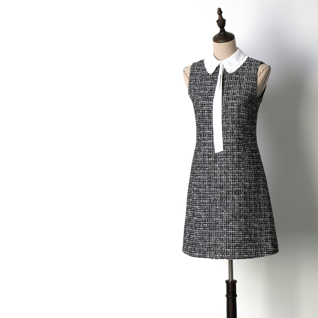 036e4f1d4aa6 Women fashion cute peter pan collar patchwork tweed dress sleeveless a-line black  white plaid dresses new 2018 auutmn