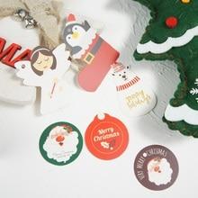 50pcs Christmas angle bear Penguin Santa Claus theme gift design paper tags labels party decoration Scrapbooking DIY