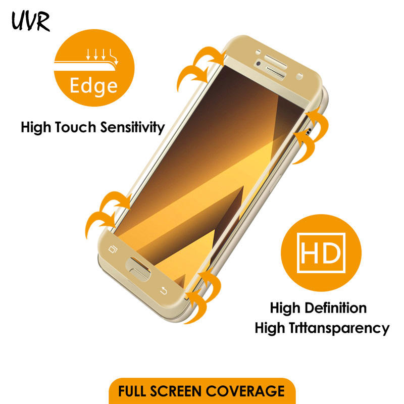 UVR 3D Curved Edge Full Cover Tempered Glass For Samsung Galaxy A3 A5 A7 A320 A520 A720 2017 Προστατευτικό οθόνης Προστατευτικό φιλμ