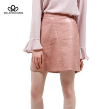 Bella Philosophy spring new PU faux leather skirt women high waist skirt pink yellow black back zipper pocket mini skrit(China)