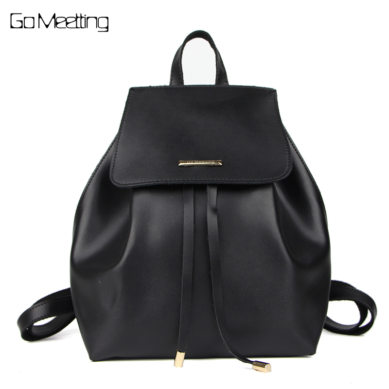 Go Meetting Fashion Women pu leather backpack leisure contracted travel backpacks Brand shoulder students SchoolBags Daily
