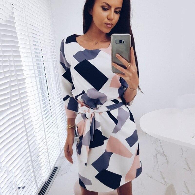 2018 geométrico impreso fajas bolsillos otoño vestido de mujer mangas tres cuartos cuello otoño Casual suelto recto Mini vestidos