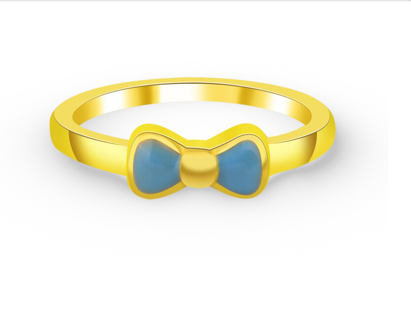 999 24K Yellow Gold Ring Lucky Bow Ring 1.02g US 5.5 hot sale pure 999 24k yellow gold women s lucky o chain star ring us 7