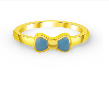 999 24K Yellow Gold Ring  Lucky Bow Ring 1.02g US 5.5