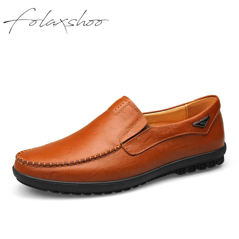 Folaxshoo Genuine   Leather   Rubber Slip-on Men Shoe Loafers Winter Man Shoes   Leather   Loafers Casual Mens Casual   Suede   Shoes