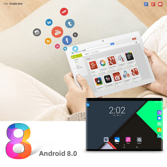 CIGE N9 10.1 inch tablet PC 4G Lte Android 8.0 Octa Core Super tablets Ram 6GB Rom 64GB WiFi GPS 10 tablet IPS Dual SIM GPS 2