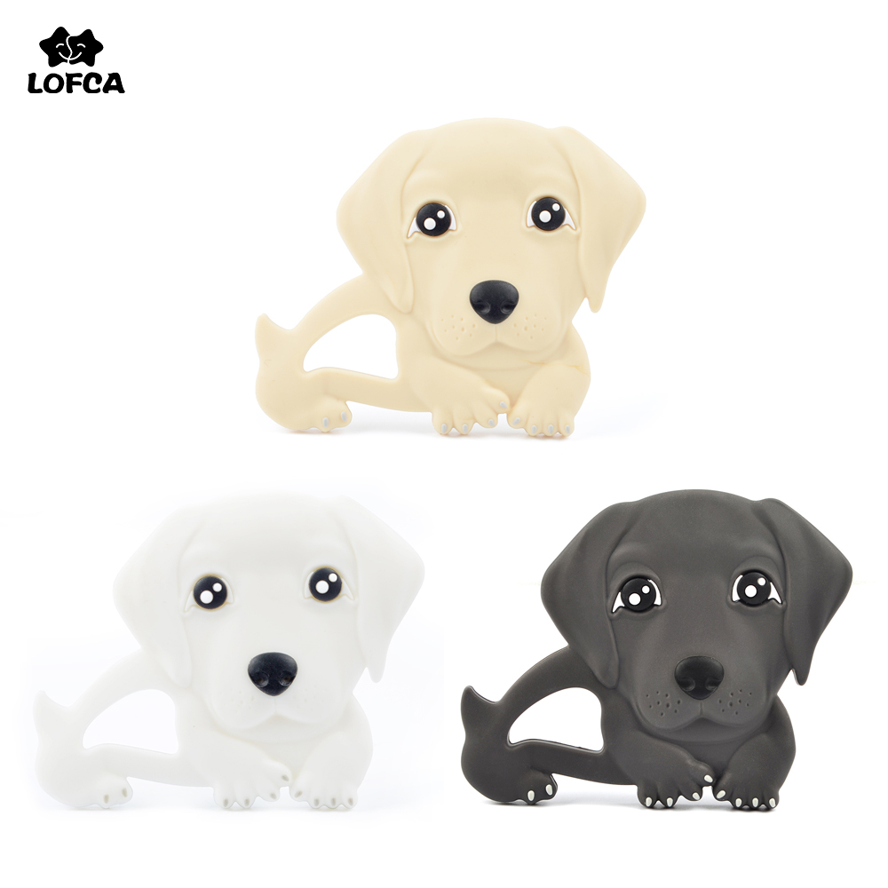 Silicone Teether Animal Labrador Baby Teething Toy Silicone Teether Baby BPA Free Dog Pendant Nursing Necklace Toddler Toys Chew duck animal series many chew toy page 7