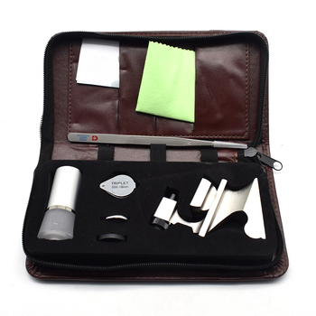 Diamond Identification Tool Kit Portable Set Cutters Waist Loupe Tweezers Colorimetric Card Cleaning Cloth Ring Claw