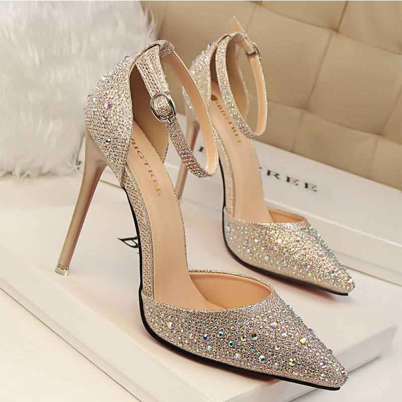 Women Pumps Sexy High Heels Shoes Woman Silver Rhinestone Wedding Shoes High Heels Party Shoes Summer Hight Heels Sandals 305-3 1