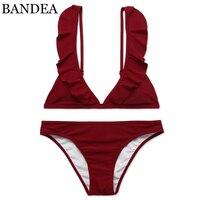 BANDEA 2017 Sexy Bikinis Brand Women Swimsuit Solid Color Swimwear Female Brazilian Bikini Set Lace Decoration