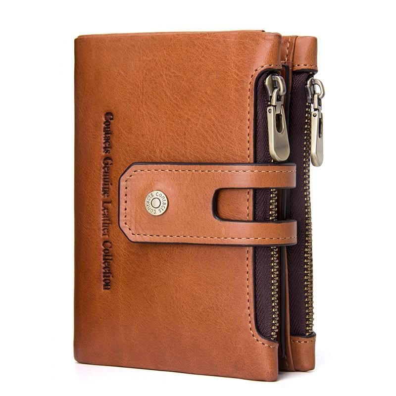 JIULINGenuine Leather Men Wallet Small Men Walet Zipper&Hasp Male Portomonee Short Coin Purse Brand Perse Carteira For Rfid