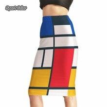 Модные, красочные Для женщин пикантные Высокая Талия Миди-юбки теннис Боулинг юбки тонкий эластичный 3D для девочек Женская одежда для вечеринок S-4XL