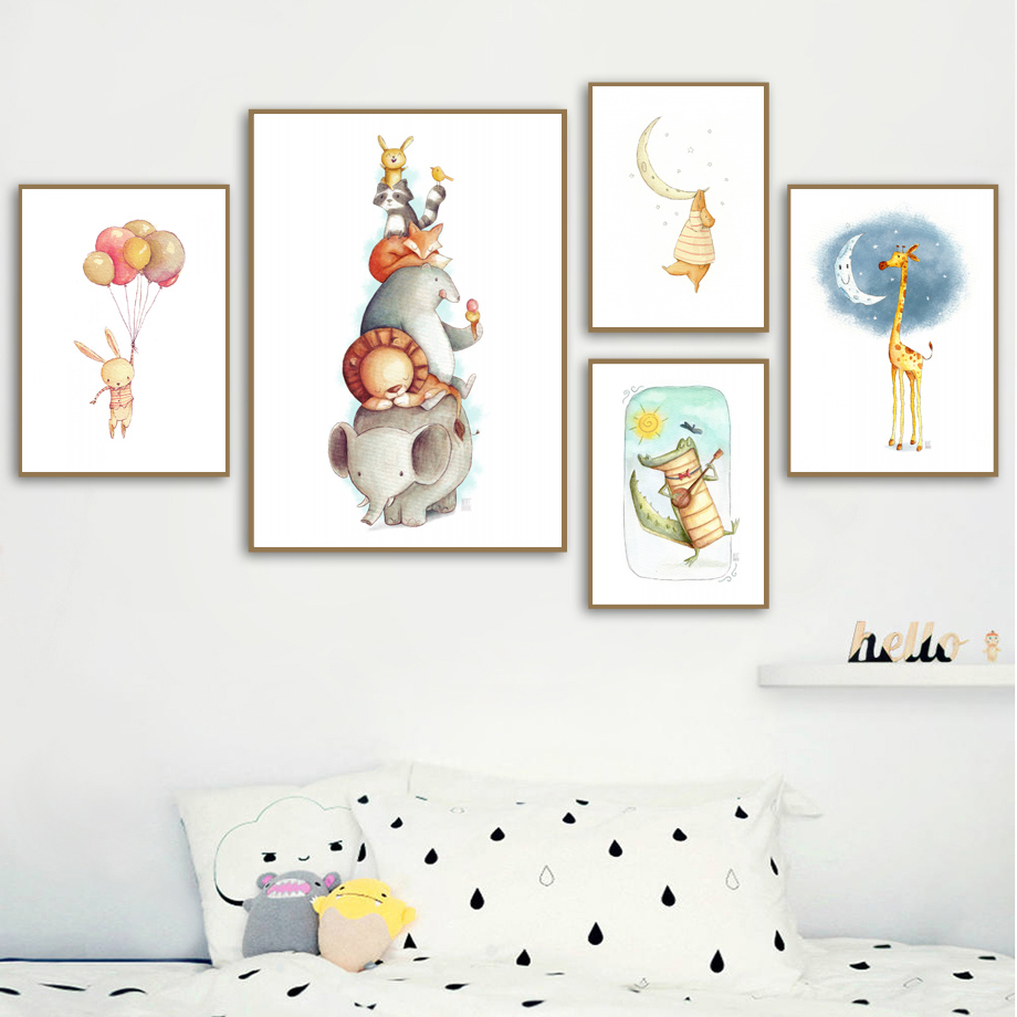 Watercolor Bear Rabbit Fox Wall Art Canvas Painting Nordic Poster And Print Animal Wall Picture Kids Baby Room Scandinavian Deco