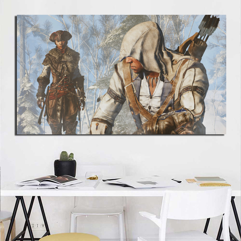 Assassins Creed Talking in the snow Canvas Painting Living Room Home Decoration Modern Wall Art Oil Painting Posters Pictures HD in Painting Calligraphy from Home Garden