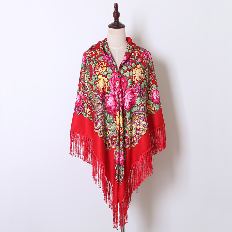 Red Women Printing Russia Style National Designs With Four Sides Tassel Large Squar Shawl Scarf Oversize Wrap 160CM*160CM 03