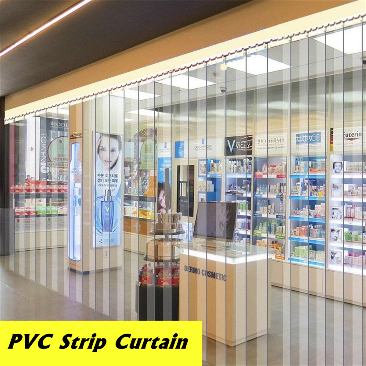 Transparent PVC Plastic Strip Curtain 200*18*0.1cm Freezer Room Door Strip Kit Hanging Rail Curtains Heat Cold Resist Windproof