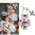 Cute Infant Baby Boy Girl Rompers Sleeveless Backless Cartoon Fox Clothes Brace Romper+Headband Newborn Outfits Set Clothing