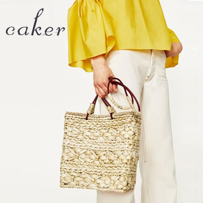 Caker 2017 Women Casual Totes Lady Large Big Straw Tassel Flower Drawstring Beach Hand Bags Shoulder Bags