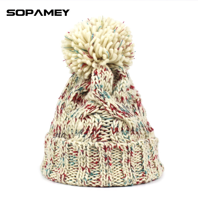 Winter Beanies For Women Knitted Acrylic Hats Mix Colors Skullies Beanies Knit Big Pompom Caps Free Shipping Female Beanie 2017 2016 new beautiful colorful ball warm winter beanies women caps casual sweet knitted hats for women outdoor travel free shipping