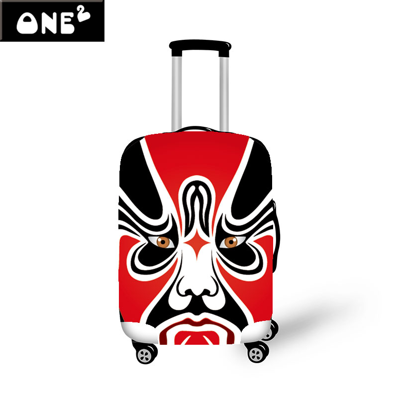 Fashionable 3D Peking Opera Mask Design Printing Cover Apply to 22 26 Inch Suitcase Elastic Travel