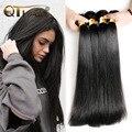 Queen Hair Products 4 Bundles Bruto Brasileño Onda Del Pelo Recto Grado 7A Sin Procesar Brasileña Virginal Del Pelo Recto