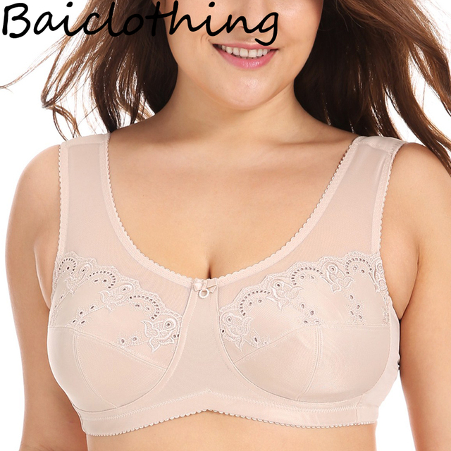 52274ac94fe00 BAICLOTHING Drop Ship Women s Full Coverage Underwear Lace Sheer Non-padded Wire  Free Minimizer Bra 34 36 38 40 42 44 B C D DD E