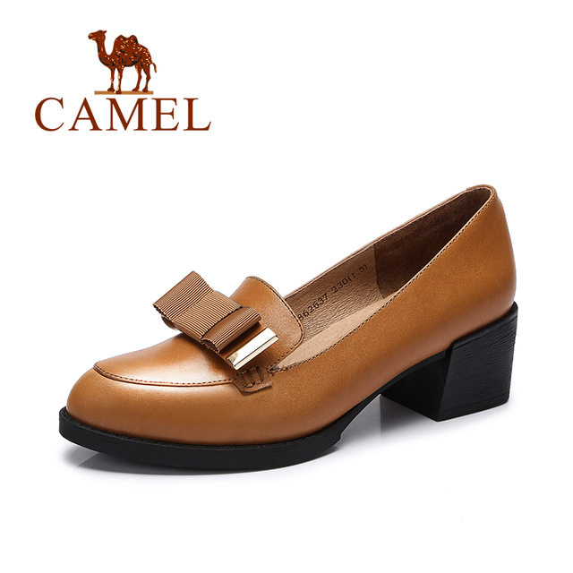 Camel 2016 New Fashion Ladies Pumps Patent Leather Thick Heel Women Comfortable Solid Color High Heel Shoes  A63862637