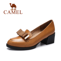 Camel 2016 New Fashion Ladies Pumps Patent Leather Thick Heel Women Comfortable Solid Color High Heel