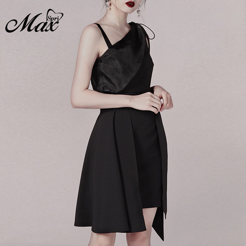 Max Spri One Shoulder Irregular Casual Dress Mini Cut Out A Line Sexy Bodycon Party Dresses 2019 New Fashion in Dresses from Women 39 s Clothing