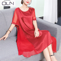 Dress silk large plus size OLN ladies dress summer new heavy mother pure color over the knee long dress