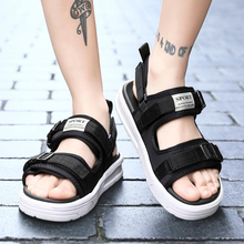 Summer Men Sandals Hook&loop Fashion Waterproof Beach Shoes Man Casual Thick Bottom Black Footwear Big Large Size 36-48 Shoe