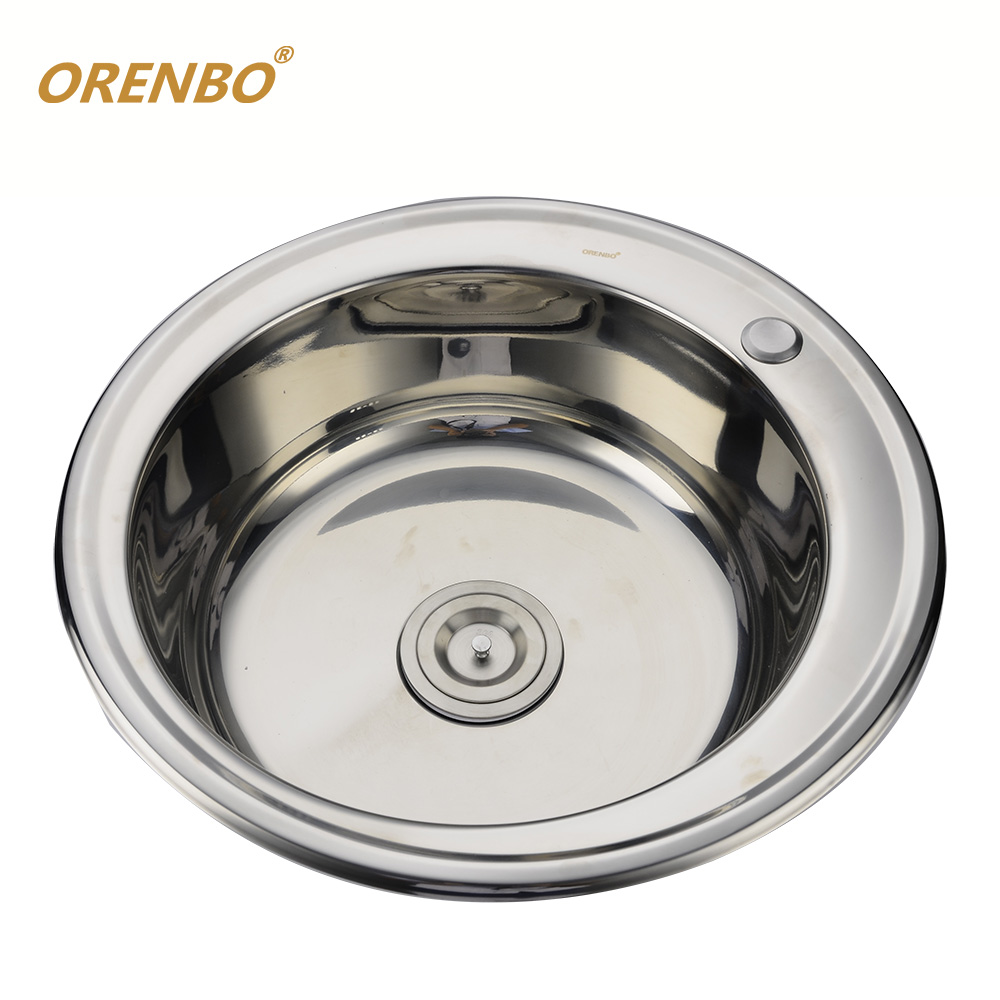 orenbo stainless steel kitchen sink chrome single bowl round shape sink washable sink with accessories fregadero free shoping. Interior Design Ideas. Home Design Ideas