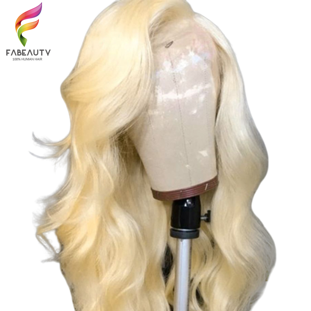 613 Blonde Lace Front Human Hair Wig Peruvian Body Wave Lace Front Wig Pre Plucked 13*4 Glueless 613 Lace Wigs Remy Hair-in Human Hair Lace Wigs from Hair Extensions & Wigs