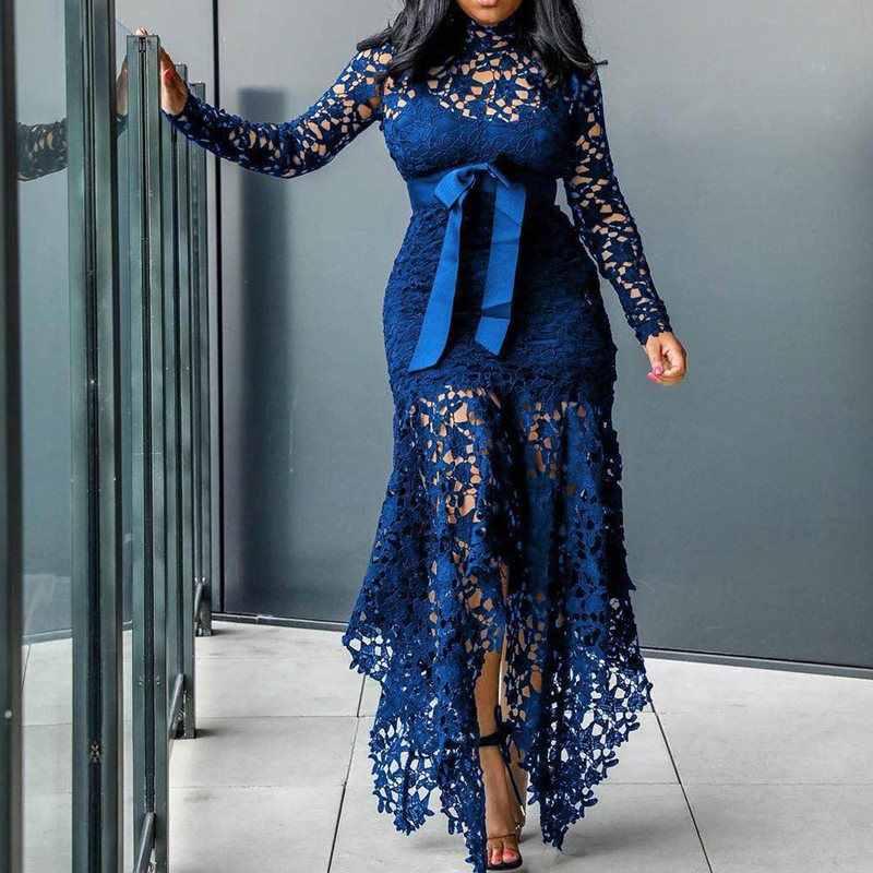 Элегантные винтажные вечерние, сексуальные, черные, большие размеры, женские длинные платья, открытая Кружевная Сетка, Пляжное, облегающее, синее, 4XL, африканская мода, макси платье