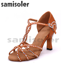 Samisoler Brown New Cloth Collocation Shine Ribbons Ballroom Fashion Rhinestone Dance Women Latin Competition Shoes