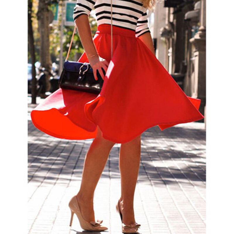 Casual Women Summer Skirt Office Lady Work Wear Knee-length Vesitods Empire Red White Female Ball Gown