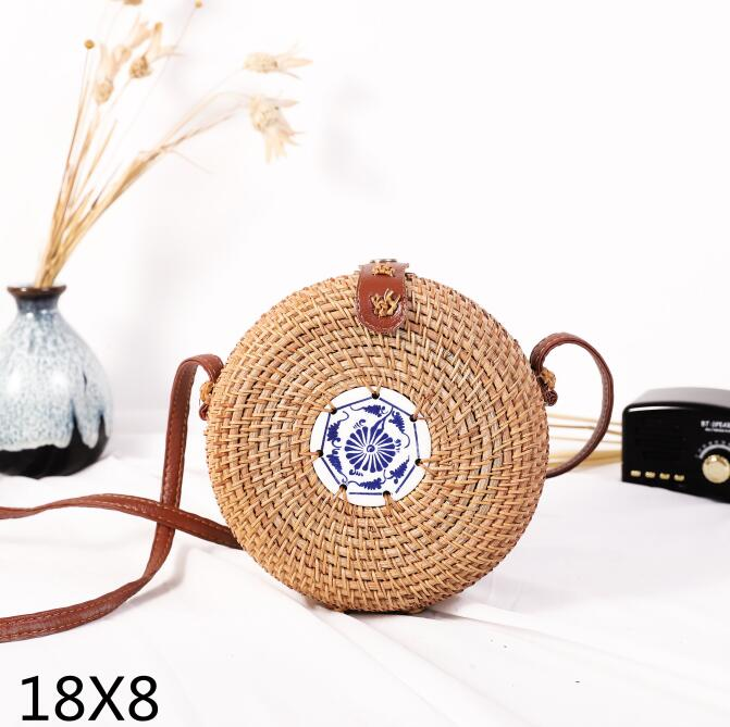 Woven Rattan Bag Round Straw Shoulder Bag Small Beach HandBags Women Summer Hollow Handmade Messenger Crossbody Bags 14