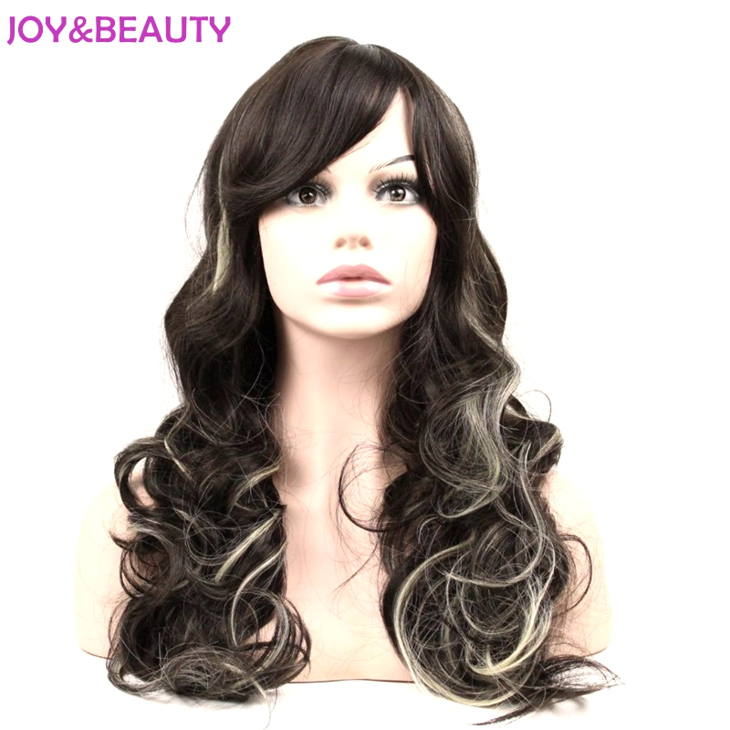 JOY&BEAUTY Heat Resistant Synthetic Hair Cosplay Wig Natural Black Blonde Mix Long Wavy Wig 24inch Fre Shipping ...