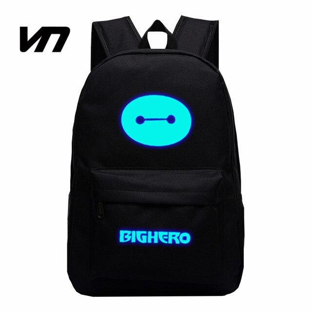 VN 2016 New Arrival Star Luminous Backpacks Teenager School Bag Big Hero Backpacks Baymax Big White Cartoon Students School Bags