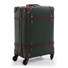 Letrend Vintage Suitcase Wheels Leather Rolling Luggage Spinner Women Retro Trolley 20 inch Cabin Travel Bag