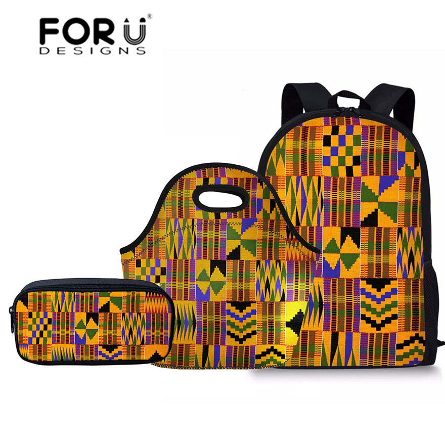 FORUDESIGNS 3pcs/set School Bags For Kids African Tradtional Printing Primary School Bag Children Shoulder Bagpack Girls Satchel