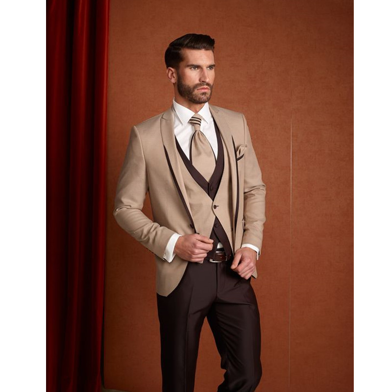 Custom Made Beige Brown Classic Men Suit Formal Slim Fit Suits Custom Blazer Men 3 Piece Men Suits (Jacket+Pants+Vest)