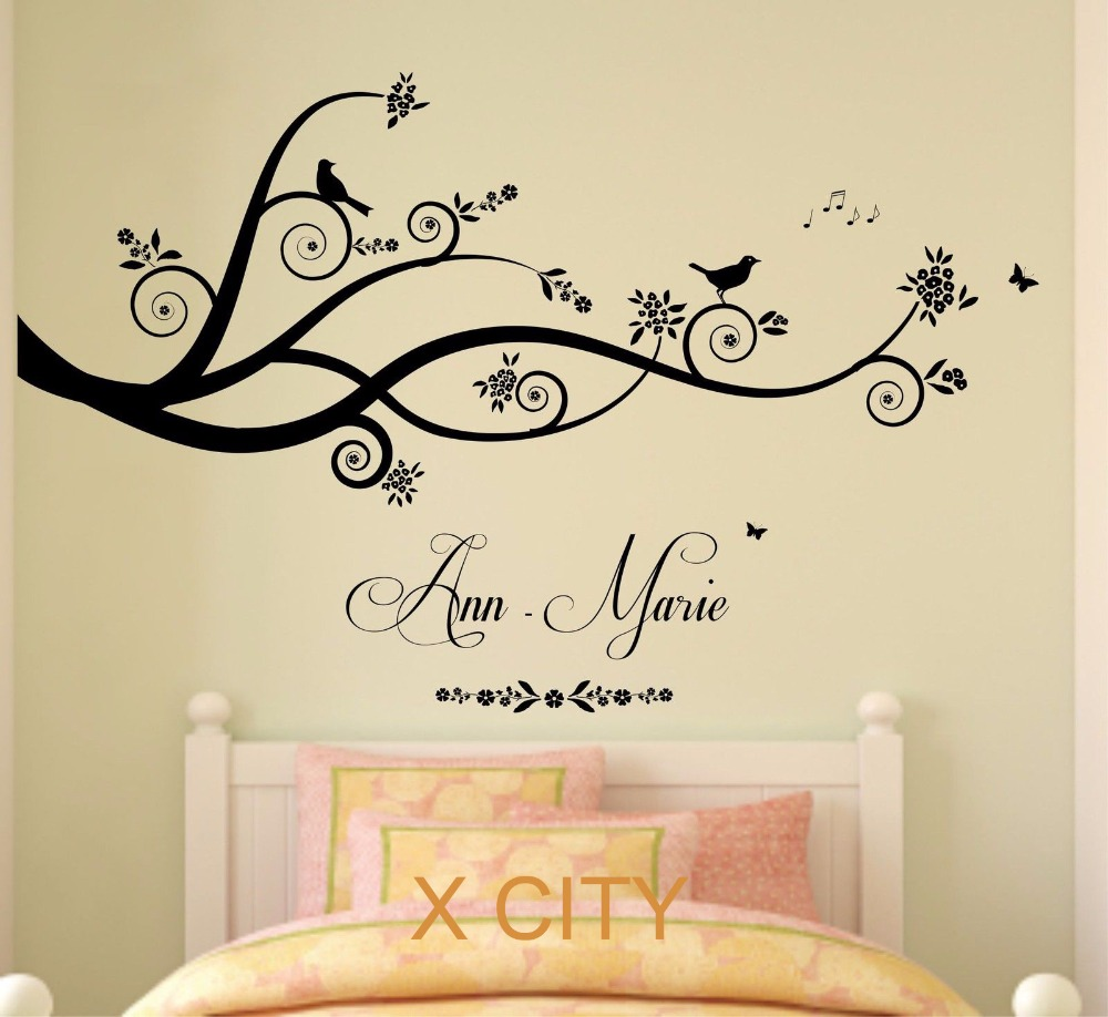 Tree birds butterflies children girl personalised name vinyl wall tree birds butterflies children girl personalised name vinyl wall decal art decor sticker kids bedroom stencil mural s m l in wall stickers from home amipublicfo Images