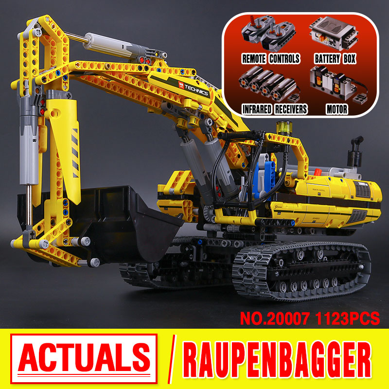 New LEPIN 20007 technic series 1123pcs excavator Model Building blocks Bricks Compatible Toy Christmas Gift 8043 Educational Car in stock new lepin 21009 fxx 1 17 toy building blocks 632pcs technic racing sports car supercar model boy gift compatible 8156