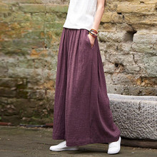 2017 Women Casual Loose Wide Leg Pants Vintage Elastic Waist Trousers Casual Cotton linen Oversized Solid Long Pants Plus Size M(China)