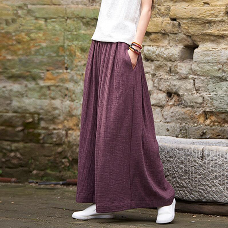 2019 Women Casual Loose   Wide     Leg     Pants   Vintage Elastic Waist Trousers Casual Cotton linen Oversized Solid Long   Pants   Plus Size M