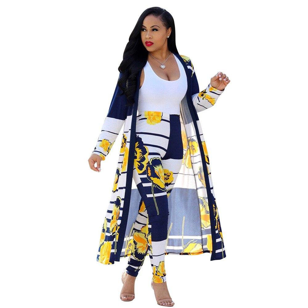 Summer Woman Set 2 Piece Sets Women Long Pants and Long Top Out Trench Femme Long Sleeve Coats Plus Size S-XXL combinaison femme